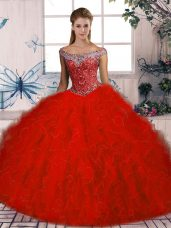 Trendy Sleeveless Brush Train Beading and Ruffles Lace Up Sweet 16 Quinceanera Dress