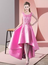 Extravagant Rose Pink Scoop Neckline Lace Bridesmaids Dress Sleeveless Zipper