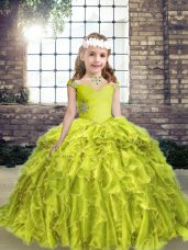 Floor Length Yellow Green Girls Pageant Dresses Straps Sleeveless Lace Up