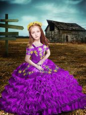 Short Sleeves Organza Floor Length Lace Up Pageant Gowns in Purple with Embroidery and Ruffled Layers