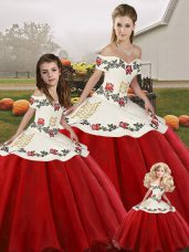 White And Red Sleeveless Floor Length Embroidery Lace Up Vestidos de Quinceanera