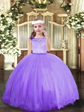 Perfect Sleeveless Floor Length Lace Zipper Pageant Gowns For Girls with Lavender