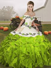 Artistic Olive Green Organza Lace Up Off The Shoulder Sleeveless Floor Length Quinceanera Dress Embroidery and Ruffles