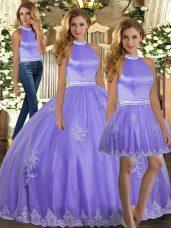Lavender Tulle Backless Halter Top Sleeveless Floor Length Sweet 16 Dress Appliques