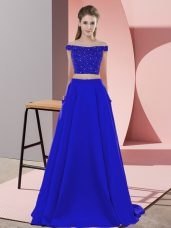 Blue Off The Shoulder Neckline Beading Pageant Dress Womens Sleeveless Backless