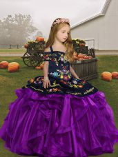 Stunning Floor Length Ball Gowns Sleeveless Eggplant Purple Kids Formal Wear Lace Up