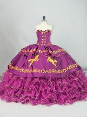 Ball Gowns Sleeveless Purple 15th Birthday Dress Brush Train Lace Up