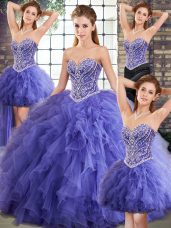 Floor Length Lavender Quinceanera Dress Tulle Sleeveless Beading and Ruffles