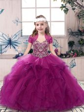 Fuchsia Sleeveless Tulle Lace Up Kids Pageant Dress for Party and Sweet 16 and Wedding Party