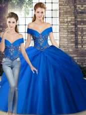 Sleeveless Tulle Brush Train Lace Up Quinceanera Gown in Royal Blue with Beading and Pick Ups
