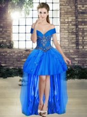 Pretty Sleeveless Tulle High Low Lace Up Prom Gown in Blue with Beading and Ruffles
