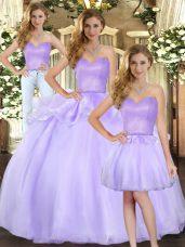 Lavender Three Pieces Organza Sweetheart Sleeveless Beading Floor Length Lace Up 15th Birthday Dress