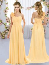 Exceptional Chiffon One Shoulder Sleeveless Brush Train Lace Up Hand Made Flower Wedding Party Dress in Gold