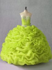 Delicate Floor Length Yellow Green Quinceanera Dress Sweetheart Sleeveless Lace Up