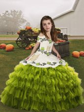 Organza Sleeveless Floor Length Little Girl Pageant Dress and Ruffled Layers