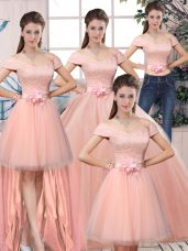 Popular Off The Shoulder Short Sleeves 15 Quinceanera Dress Floor Length Lace and Hand Made Flower Pink Tulle