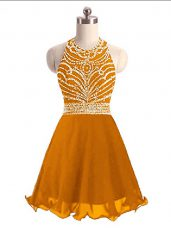 Orange Halter Top Lace Up Beading Prom Evening Gown Sleeveless