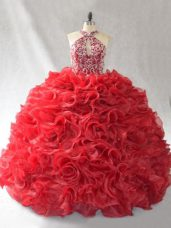 Red Ball Gowns Organza Halter Top Sleeveless Beading and Ruffles Lace Up Quinceanera Dress Brush Train