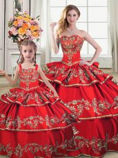 Custom Designed Red Sleeveless Embroidery and Ruffled Layers Floor Length Vestidos de Quinceanera