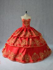 Stunning Embroidery and Ruffled Layers Quince Ball Gowns Red Lace Up Sleeveless Floor Length