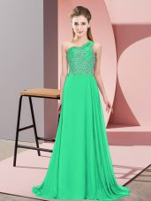 High Class Chiffon One Shoulder Sleeveless Side Zipper Beading Evening Dress in Turquoise
