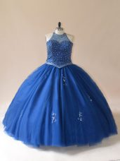 Unique Beading Quince Ball Gowns Blue Lace Up Sleeveless Floor Length