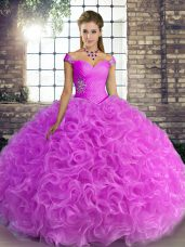 Custom Fit Floor Length Lilac Sweet 16 Dresses Off The Shoulder Sleeveless Lace Up