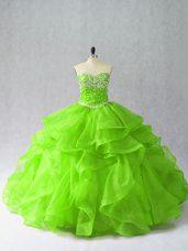 Classical Sleeveless Beading and Ruffles Floor Length Quinceanera Dresses
