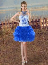 Flirting Blue And White Sleeveless Mini Length Beading and Embroidery and Ruffles Lace Up Party Dresses