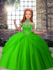 Sleeveless Floor Length Beading Lace Up Pageant Gowns with Green