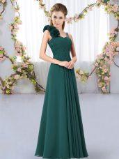 Romantic Peacock Green Straps Neckline Hand Made Flower Damas Dress Sleeveless Lace Up