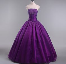 Eggplant Purple Sleeveless Tulle Lace Up Sweet 16 Quinceanera Dress for Sweet 16 and Quinceanera