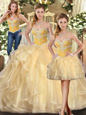Vintage Champagne Organza Lace Up Quinceanera Dresses Sleeveless Floor Length Beading and Ruffles