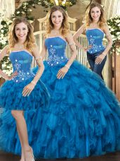 Pretty Floor Length Lace Up Quinceanera Dress Blue for Sweet 16 and Quinceanera with Beading and Ruffles