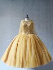 Tulle Sleeveless Floor Length Sweet 16 Dresses and Beading