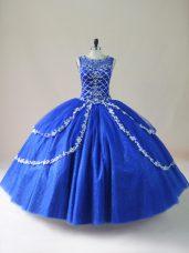 Royal Blue Ball Gowns Tulle Scoop Sleeveless Beading Floor Length Zipper Quinceanera Dress