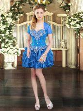 Blue Lace Up Beading and Ruffles Sleeveless Mini Length