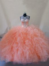Sophisticated Scoop Sleeveless Court Train Lace Up 15th Birthday Dress Peach Tulle