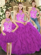 Dramatic Fuchsia Three Pieces Embroidery and Ruffles Quinceanera Dress Lace Up Tulle Sleeveless Floor Length