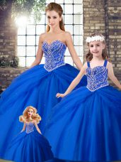 Simple Royal Blue Lace Up Sweetheart Beading and Pick Ups 15 Quinceanera Dress Tulle Sleeveless Brush Train