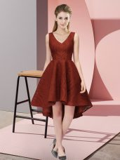 Flare Rust Red Dama Dress for Quinceanera Wedding Party with Lace V-neck Sleeveless Zipper