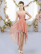 Custom Made Sweetheart Sleeveless Chiffon Bridesmaid Gown Beading Lace Up