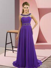 Dazzling Purple Homecoming Dress Chiffon Brush Train Sleeveless Beading