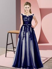Dramatic Purple Empire Scoop Sleeveless Tulle Floor Length Zipper Beading and Lace Wedding Party Dress