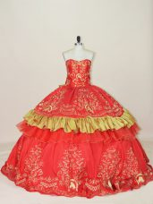 Gorgeous Red Lace Up Ball Gown Prom Dress Embroidery and Bowknot Sleeveless Floor Length