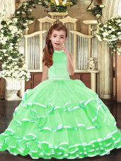 Simple Halter Top Sleeveless Organza Kids Pageant Dress Beading and Ruffled Layers Backless