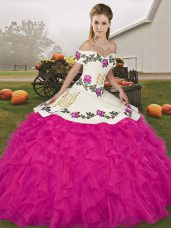 Elegant Sleeveless Organza Floor Length Lace Up Sweet 16 Quinceanera Dress in Fuchsia with Embroidery and Ruffles