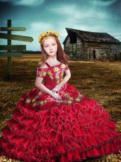 Red Short Sleeves Embroidery and Ruffled Layers Floor Length Little Girl Pageant Dress