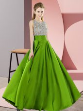 Unique Floor Length Backless Dress for Prom for Prom and Party with Beading