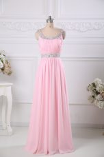 Scoop Sleeveless Evening Wear Floor Length Beading and Ruching Baby Pink Chiffon